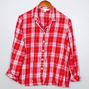 Victoria's Secret Flannel Sleep Pajama Shirt Sz M